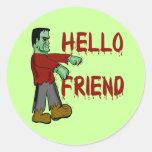 Hola pegatina de Frankenstein Halloween del amigo