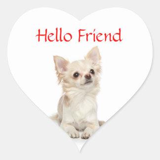 Hola pegatina de pelo largo de ChihuahuaHeart del