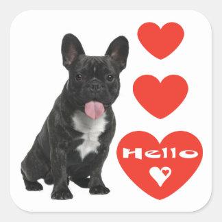Hola pegatina/sellos del perro de perrito del dogo pegatina cuadrada