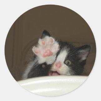 """""""Hola"""" pegatinas del gatito Pegatina Redonda"""