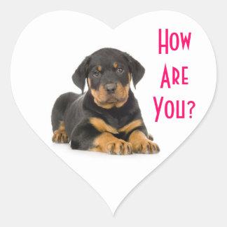 Hola pegatinas del saludo del perro de perrito de