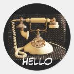 Hola, pegatinas del teléfono del vintage etiquetas redondas