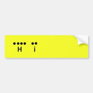 """""""Hola"""" personalizar del amarillo del código Morse  Pegatina Para Auto"""