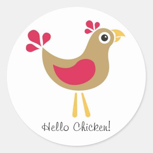 ¡Hola pollo! Hoja enrrollada del pegatina del