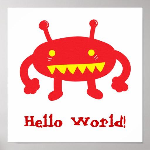 Hola poster del extranjero del mundo
