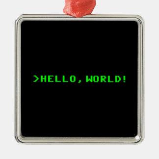 Hola programación informática del mundo adorno navideño cuadrado de metal