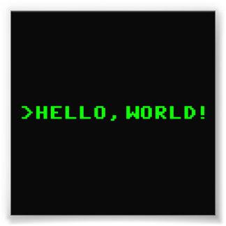 Hola programación informática del mundo impresion fotografica