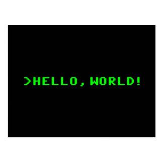 Hola programación informática del mundo postales