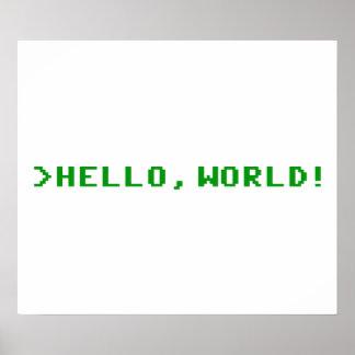 Hola programación informática del mundo póster
