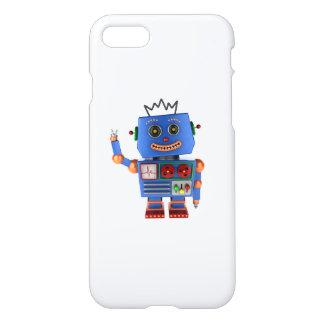 Hola que agita del robot azul del juguete funda para iPhone 7