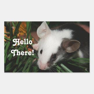 Hola ratón pegatina rectangular