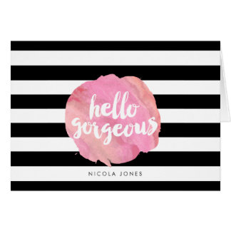 Hola raya negra magnífica y acuarela rosada tarjeta pequeña