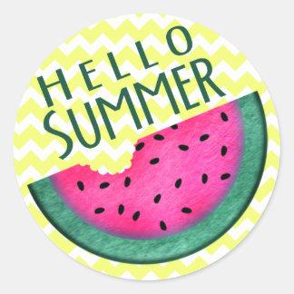 Hola rebanada de la sandía del verano pegatina redonda