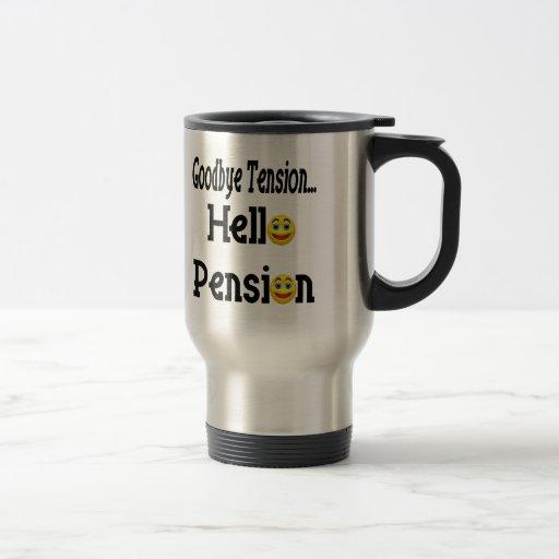 Hola regalos y camisetas del retiro de la pensión taza de viaje de acero inoxidable