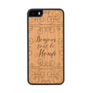 Hola revendedor alegre Le Monde de Bonjour del Funda De Cerezo Carved® Para iPhone 5 Slim