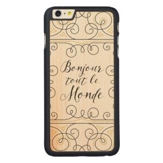 Hola revendedor alegre Le Monde de Bonjour del Funda Para iPhone 6 De Carved® De Arce