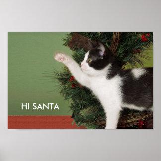 """Hola, Santa,"" poster chistoso del navidad del"