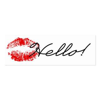 ¡Hola Sellado con una tarjeta de visita del beso