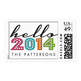 Hola sello personalizado de la Feliz Año Nuevo
