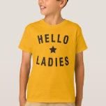 Hola señoras, diseño de la juventud en negro playera