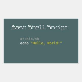 Hola shell script del golpe del mundo rectangular altavoces