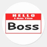 Hola, soy el Nametag de Boss… Etiqueta Redonda