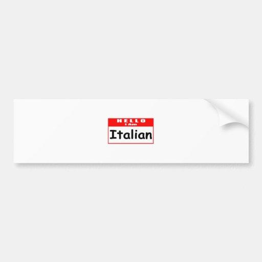 Hola, soy… Nametag italiano Pegatina De Parachoque