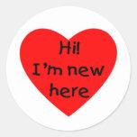 ¡Hola! Soy nuevo aquí (el rojo) Pegatinas Redondas