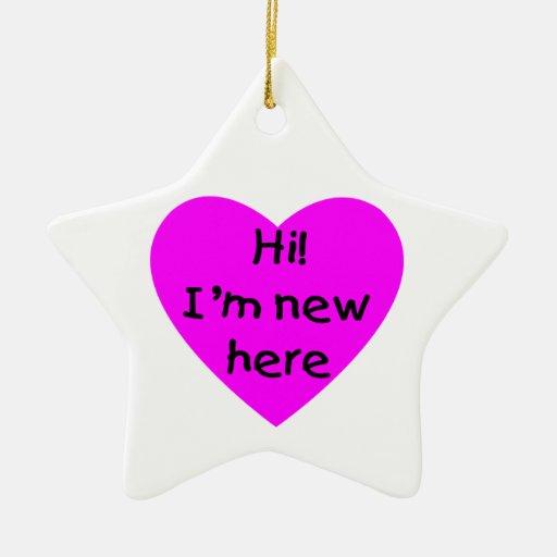 ¡Hola! Soy nuevo aquí (el rosa) Adorno Navideño De Cerámica En Forma De Estrella