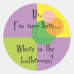 Hola soy nuevo aquí etiquetas redondas