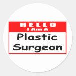 Hola, soy un Nametag del cirujano plástico… Etiqueta Redonda