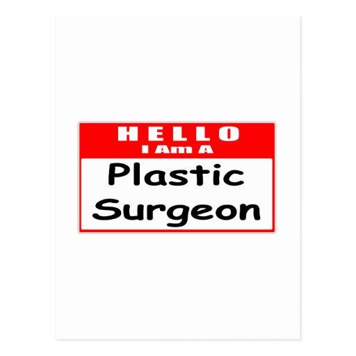 Hola, soy un Nametag del cirujano plástico… Tarjetas Postales
