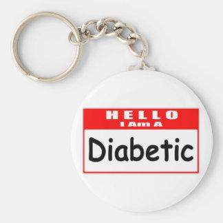 Hola, soy… un Nametag diabético Llavero Redondo Tipo Pin