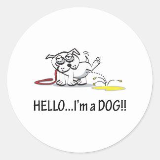 ¡Hola soy un perro! Pegatinas Redondas