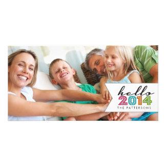 Hola tarjeta 2014 de la foto de familia de la Feli Tarjetas Personales Con Fotos