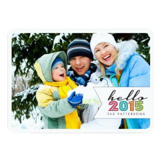 Hola tarjeta 2015 de la foto de familia de la anuncio