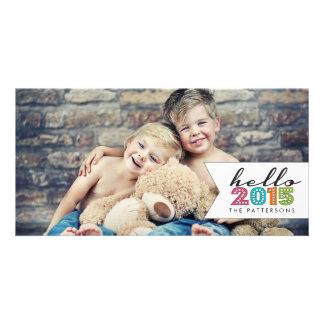 Hola tarjeta 2015 de la foto de familia de la plantilla para tarjeta de foto