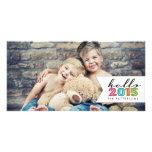 Hola tarjeta 2015 de la foto de familia de la tarjeta personal