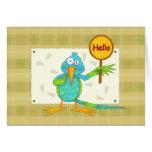 Hola tarjeta de felicitación del colibrí