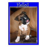 Hola tarjeta de felicitación del perrito del boxea