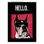 Hola tarjeta de felicitación del perro del boxeado