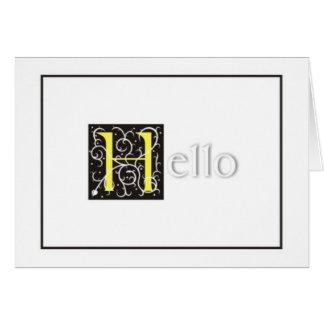 """""""Hola"""" tarjeta de felicitación grabada en relieve"""