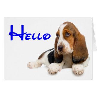 Hola tarjeta de nota del perro de perrito de Basse
