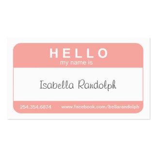 Hola tarjeta de visita conocida de la etiqueta