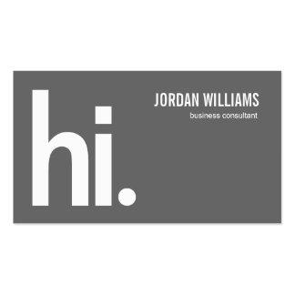 Hola - tarjeta de visita moderna - un gris potente