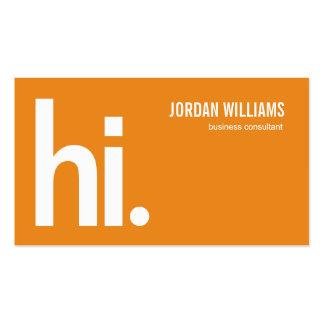 Hola - tarjeta de visita moderna - un naranja pote