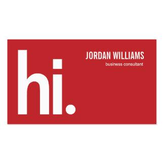 Hola - tarjeta de visita moderna - un rojo potente