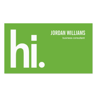 Hola - tarjeta de visita moderna - un verde