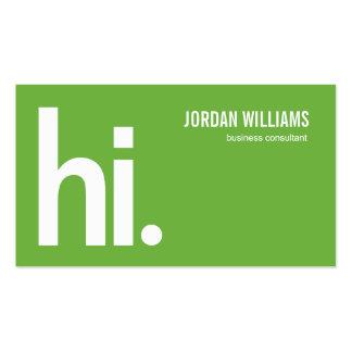 Hola - tarjeta de visita moderna - un verde potent