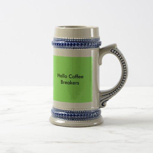 Hola trituradores del café, buena mañana jarra de cerveza